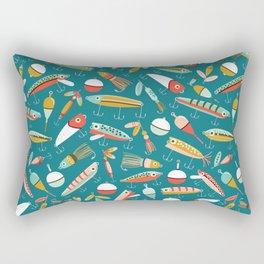 Fishing Lures Blue Rectangular Pillow