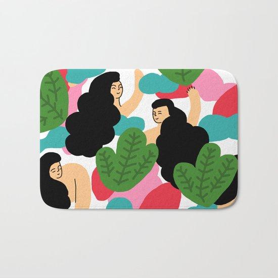 Girl Pattern Leaf Bath Mat