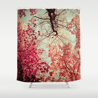 autumn Shower Curtains featuring Autumn Inkblot by Olivia Joy StClaire