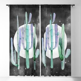 Cactus Nights Full Moon Starry Sky Turquoise Green by Nature Magick Blackout Curtain