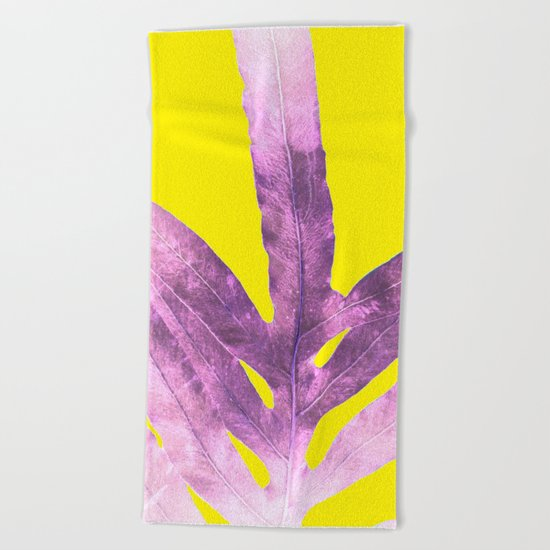 Green Fern on Bright Yellow Inverted Beach Towel