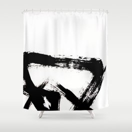 Brushstroke [8] - a simple, abstract, black and white india ink piece Shower Curtain