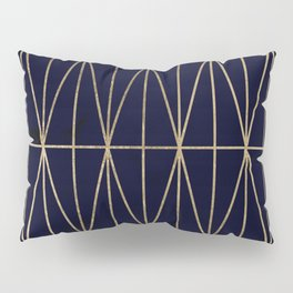 Modern gold geometric triangles pattern navy blue watercolor Pillow Sham
