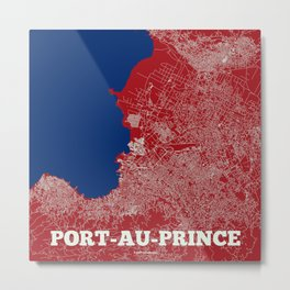Port-au-Prince, Haiti street map Metal Print