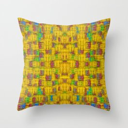 Rainbow stars in the golden sky scape Throw Pillow