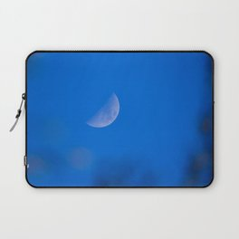 Selective focus photo. Growing moon in the blue sky. Laptop Sleeve