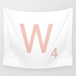 Pink Scrabble Letter W - Scrabble Tile Art and Accessories Wall Tapestry