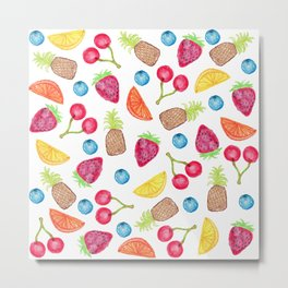 Juicy Watercolor Hand Painted Fruit Pattern Metal Print