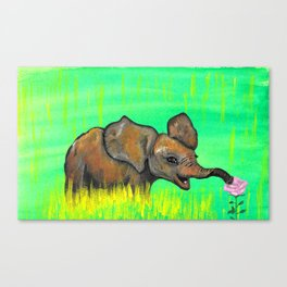 Baby elephant in the green fields smelling a pink rose by Jana Sigüenza Canvas Print