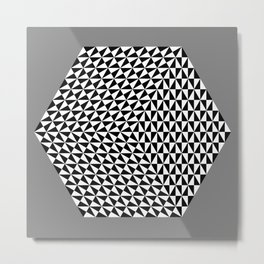 Hexagon of Black and White Triangles Metal Print