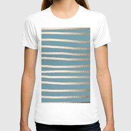 Abstract Drawn Stripes Gold Tropical Ocean Blue T-shirt