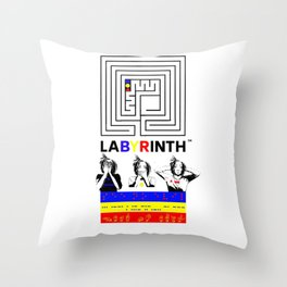 SSHNE LABYRINTH: ASL ,MORSE, BRAILLE on BANNERS Throw Pillow