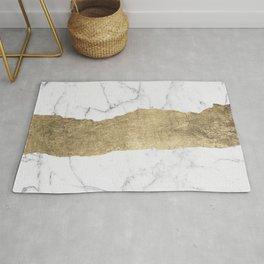 Elegant faux gold foil gray white modern marble Rug