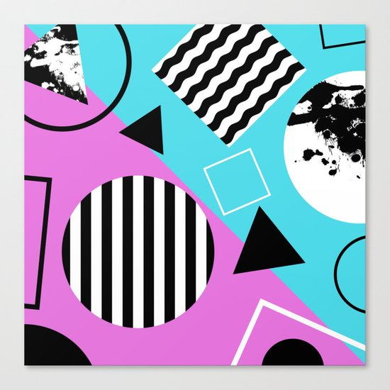 Stripes And Splats 1 - Wacky, Random, Abstract, Black And White Stripes, Blue and pink Artwork Canvas Print