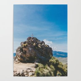Cross at the top of the Iztaccihutal Volcano, Mexico City Poster