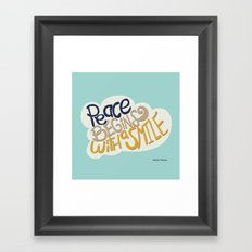 Peace begins with a smile Framed Art Print