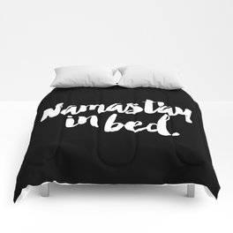 Namast'ay In Bed Yoga Quote Black Version Comforters