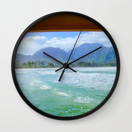ocean view with mountain and blue cloudy sky background at Kauai, Hawaii, USA Wall Clock