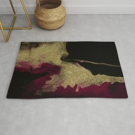 Black Honey - resin abstract painting, black and gold abstract art Rug