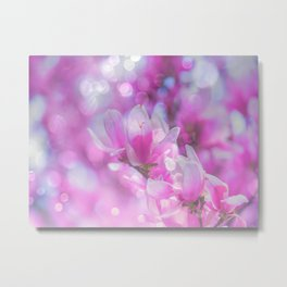 Magical Nature, Sparkly Flowers Magenta Pink Floral Metal Print