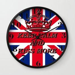 KEEP CALM AND KISS MORE Wall Clock