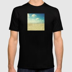 life's better at the beach Mens Fitted Tee Black MEDIUM