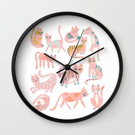 KittyKats - Pink Palette Wall Clock