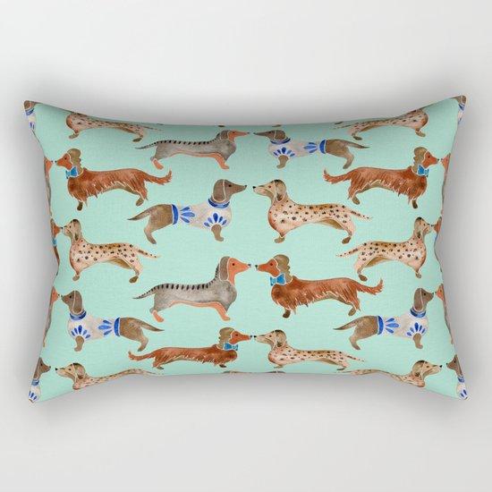 Dachshunds on Blue Rectangular Pillow