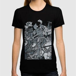 Saturday Knight Special STEEL BLUE / Vintage illustration redrawn and repurposed T-shirt