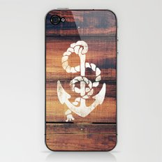 Vintage Nautical Anchor White on Brown Wood Grain iPhone & iPod Skin
