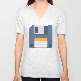 Old School Computer Floppy Diskette Unisex V-Neck