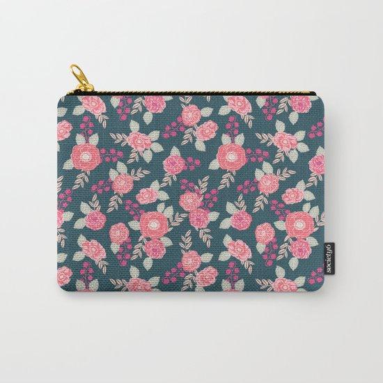 Ranunculus gardener garden floral flowers boho navy pink pastel cute pattern dorm college trendy Carry-All Pouch