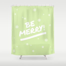 Bright Lime Green Be Merry Christmas Snowflakes Shower Curtain