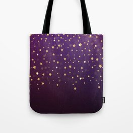 Violet Night Gold Stars Tote Bag