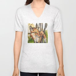 Fox in the woods Unisex V-Neck