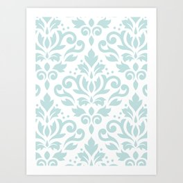Scroll Damask Lg Pattern Duck Egg Blue on White Art Print