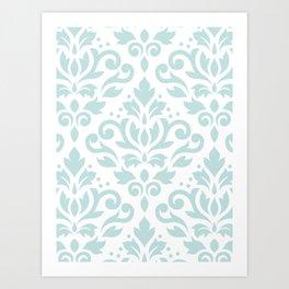 Scroll Damask Lg Pattern Duck Egg Blue on White Art Print