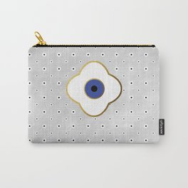 Mati Evil eye protection floral pattern on white Carry-All Pouch