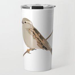 House Sparrow Bird on a Twig Travel Mug