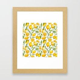 lemon watercolor print Framed Art Print