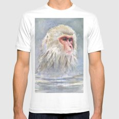 Snow Monkey Watercolor Animal White Mens Fitted Tee MEDIUM