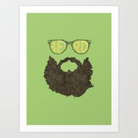 beard Art Prints featuring Beard by Pedro Barbosa