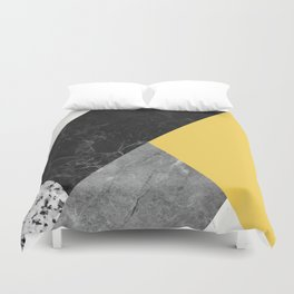 Black and White Marbles and Pantone Primrose Yellow Color Duvet Cover