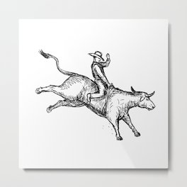 Bull Riding Rodeo Cowboy Drawing Metal Print