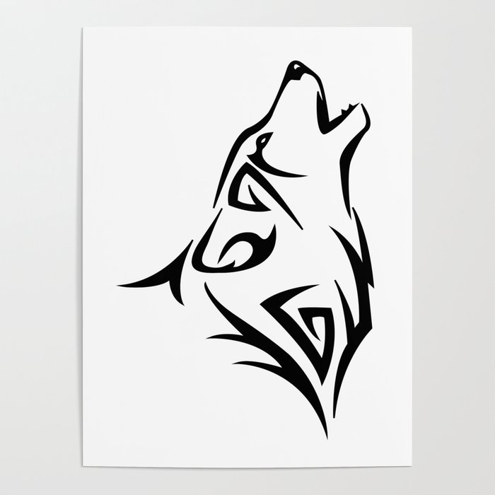 Tribal Wolf Howl Poster By Fosterchild Society6