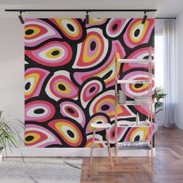 Abstract Mid Century Modern Paisley in Pink, Salmon Rose, Yellow Wall Mural