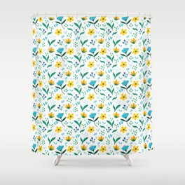 Summer flowers in yellow and blue in white background Shower Curtain