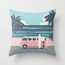 Surfer Graphic Beach Palm-Tree Camper-Van Art Throw Pillow