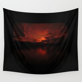 Dark Red Sunset in Montana, Water Reflection, Hues of Red, Sailor's Delight Wall Tapestry