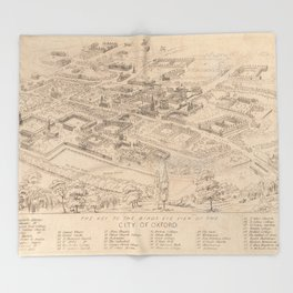 Vintage Pictorial Map of Oxford England (1850) Throw Blanket